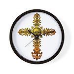 Skull Gold Cross Wall Clock