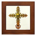 Skull Gold Cross Framed Tile