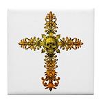 Skull Gold Cross Tile Coaster