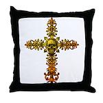 Skull Gold Cross Throw Pillow