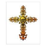 Skull Gold Cross Small Poster