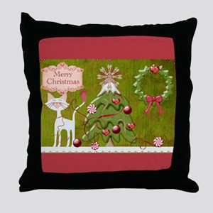 Merry Christmas Baubles Throw Pillow