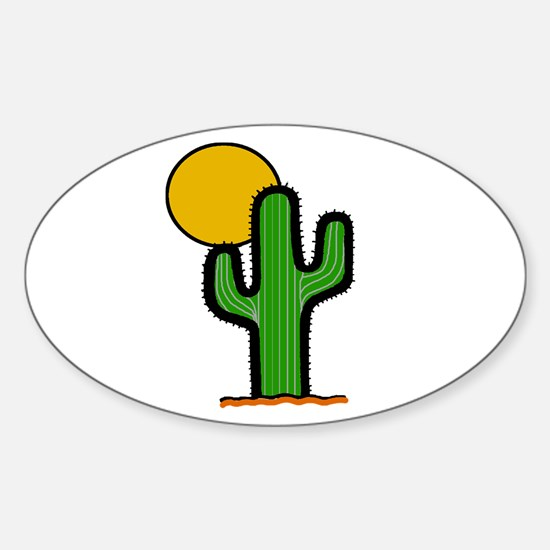 'Desert Cactus' Sticker (Oval)
