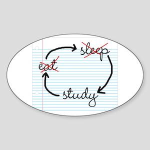 'Study, Study, Study' Sticker (Oval)