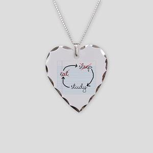 'Study, Study, Study' Necklace Heart Charm