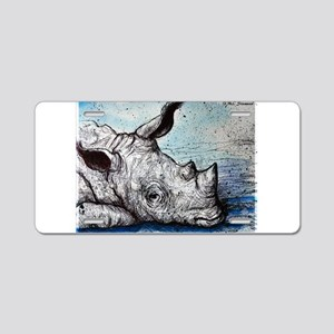Rhino, wildlife art, Aluminum License Plate