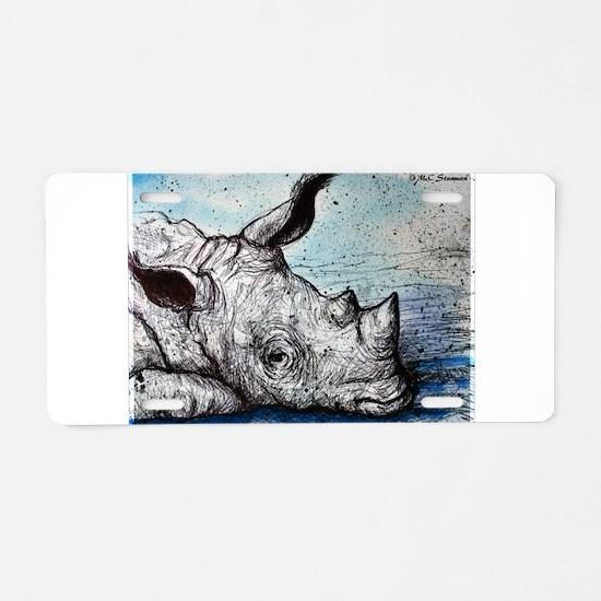 Rhino, wildlife art, Aluminum License Plate