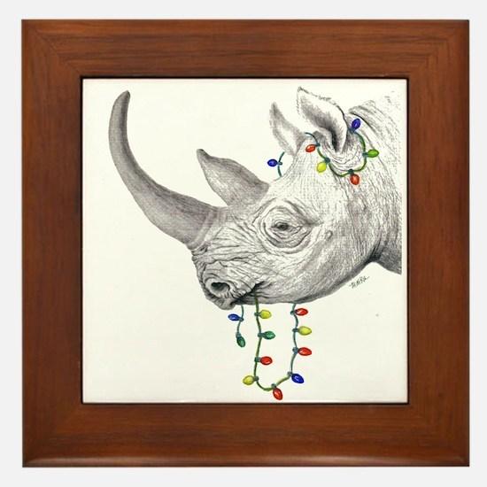 Black rhino holiday framed tile
