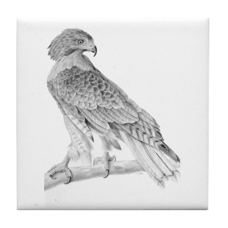 Red tailed hawk Tile Coaster
