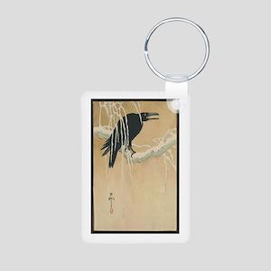 Winter Crow Aluminum Photo Keychain