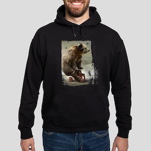 Funny Bear On Tricycle Hoodie (dark)