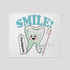 Dentist Dental Hygienist Teeth Throw Blanket