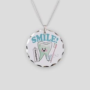 Dentist Dental Hygienist Teeth Necklace Circle Cha
