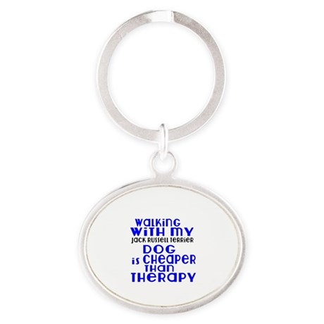 Walking With My Jack Russell Terrier Oval Keychain
