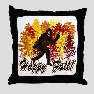 Happy Fall Bigfoot Sasquatch Yetti Throw Pillow