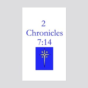 2 Chr 7:14 Cross HS Sticker (Rectangle)
