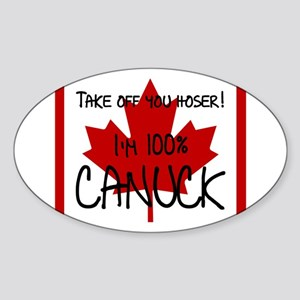 100 percent canuck Sticker (Oval)
