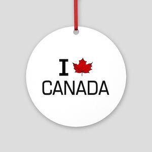 'I Love Canada' Ornament (Round)