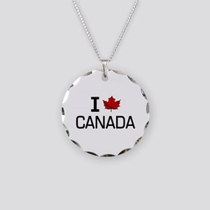 'I Love Canada' Necklace Circle Charm