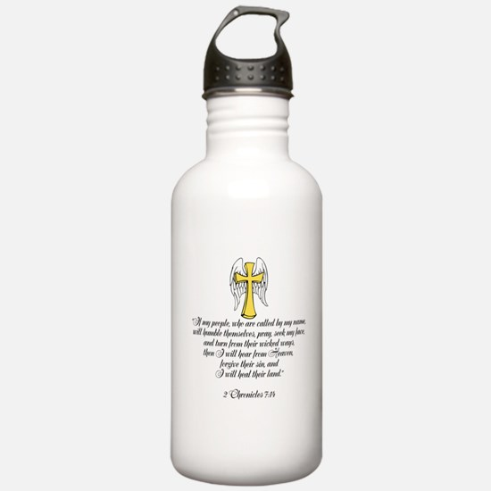 2 Chr 7:14 Cross Wing Sports Water Bottle