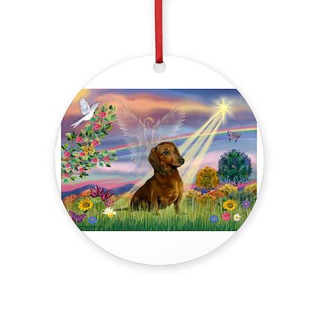 Cloud Angel & Dachshund Ornament (Round)