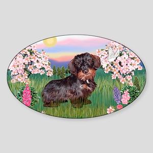 Blossoms / Dachshund Sticker (Oval)