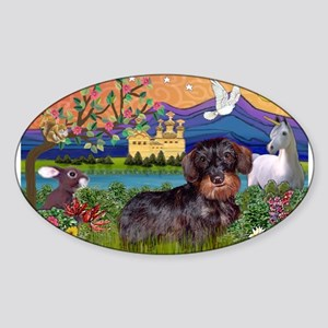 Fantasy Land / Dachshund (WH) Sticker (Oval)