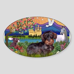 Fantasy Land / Dachshund (WH) Sticker (Oval)