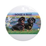 Sunrise Lilies / Doxie's Rule Ornament (Round)