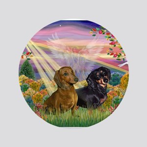 """Autumn Angel / Two Dachshunds 3.5"""" Button"""