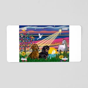 Magical Night / Two Dachshund Aluminum License Pla