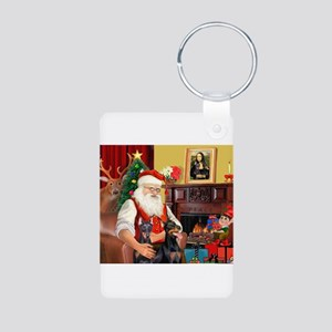 Santa's 2 Dobermans Aluminum Photo Keychain