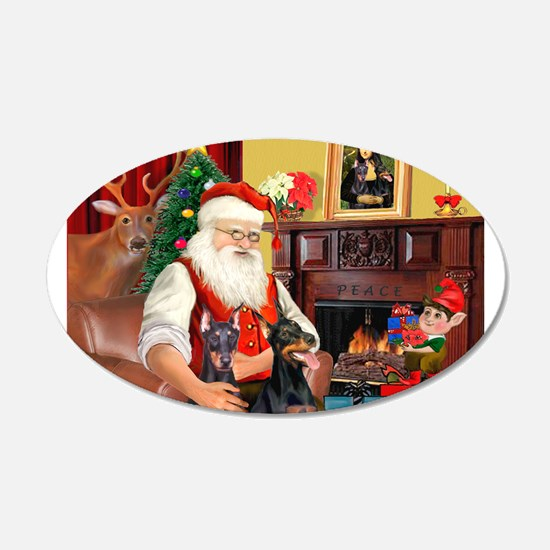 Santa's 2 Dobermans 22x14 Oval Wall Peel