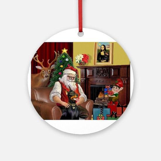 Santa's Dobie (Bz) Ornament (Round)