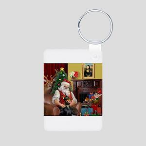 Santa's Dobie (Bz) Aluminum Photo Keychain