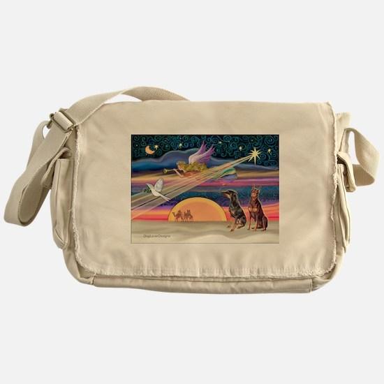 XmasStar/2 Dobies (B+R) Messenger Bag