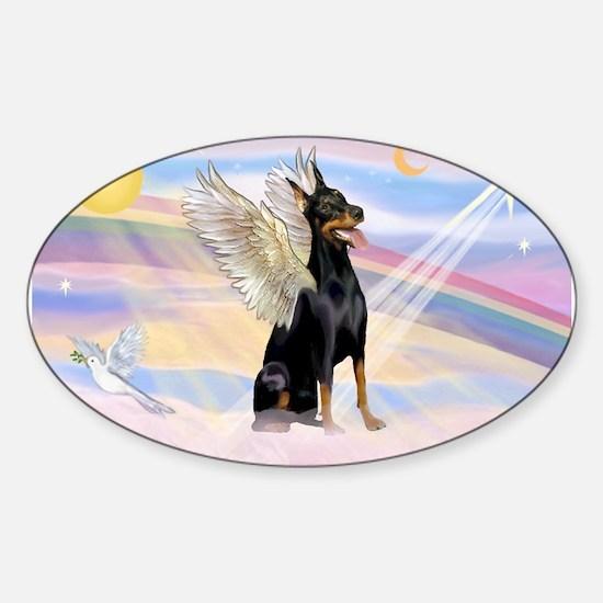 Dobie Angel in Clouds Sticker (Oval)