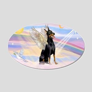 Dobie Angel in Clouds 38.5 x 24.5 Oval Wall Peel
