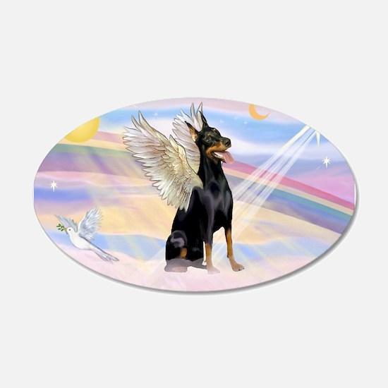 Dobie Angel in Clouds 22x14 Oval Wall Peel