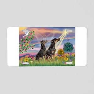 Cloud Angel & Dobie Pair Aluminum License Plate