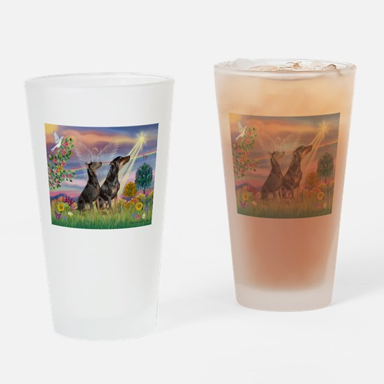 Cloud Angel & Dobie Pair Drinking Glass