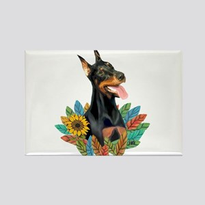 Leaves 2 - Doberman 1 Rectangle Magnet