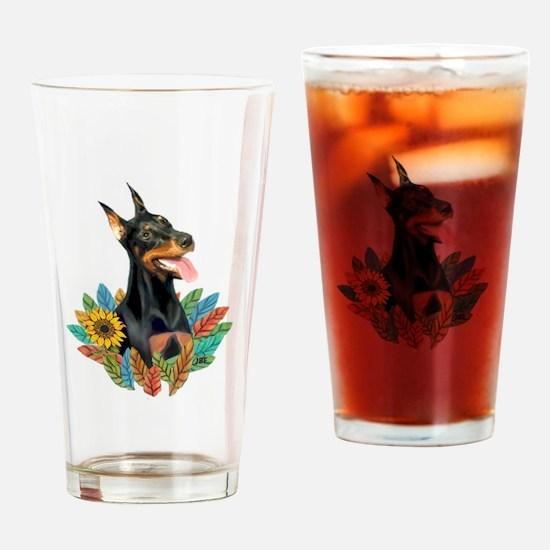 Leaves 2 - Doberman 1 Drinking Glass
