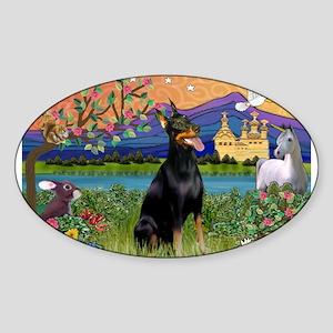 Doberman Fantasyland Sticker (Oval)