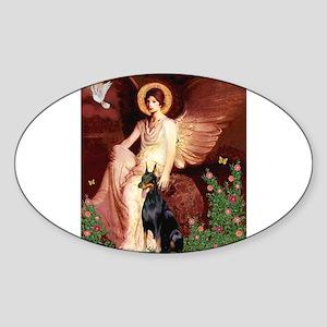 Seated Angel & Dobie Sticker (Oval)