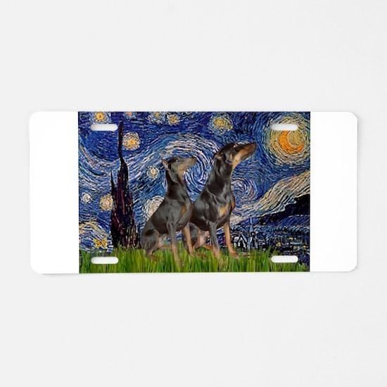 Starry Night & Dobie Pair Aluminum License Plate