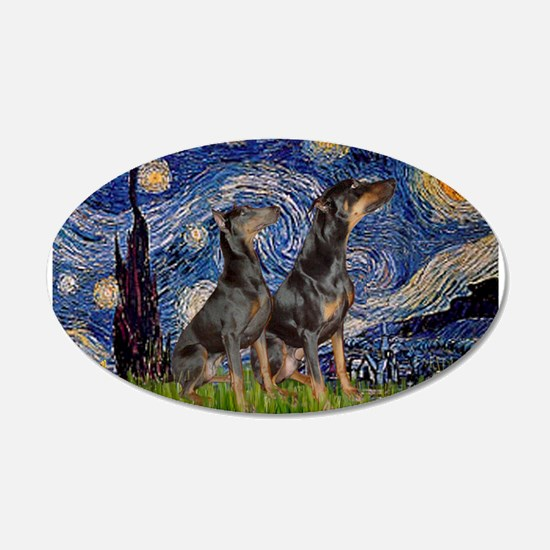 Starry Night & Dobie Pair 22x14 Oval Wall Peel