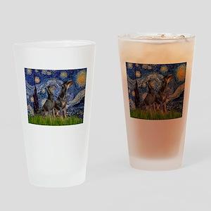 Starry Night & Dobie Pair Drinking Glass