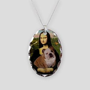Mona's English Bulldog Necklace Oval Charm