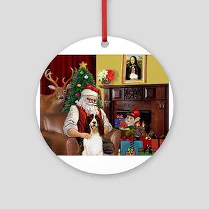 Santa & His Springer Ornament (Round)